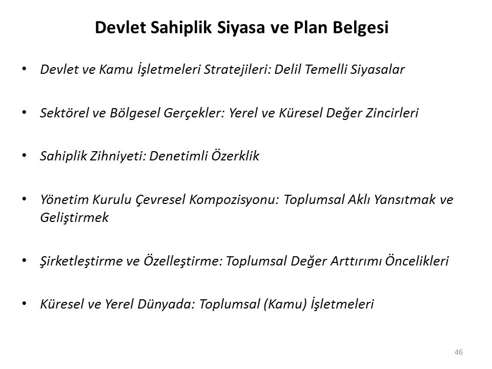 Devlet Sahiplik Siyasa ve Plan Belgesi