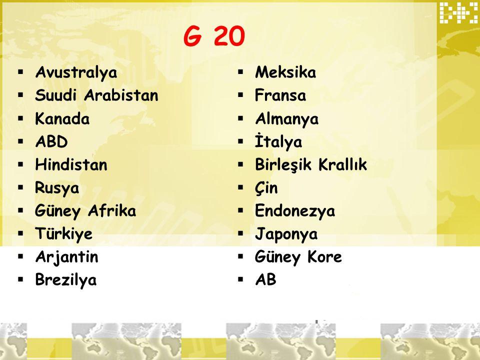 G 20 Avustralya Suudi Arabistan Kanada ABD Hindistan Rusya
