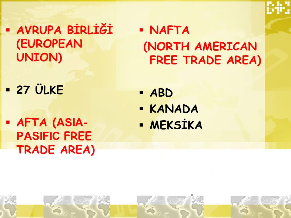 (NORTH AMERICAN FREE TRADE AREA)