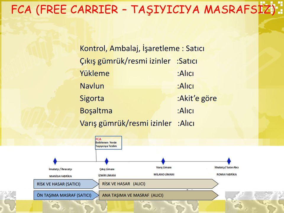FCA (FREE CARRIER – TAŞIYICIYA MASRAFSIZ)