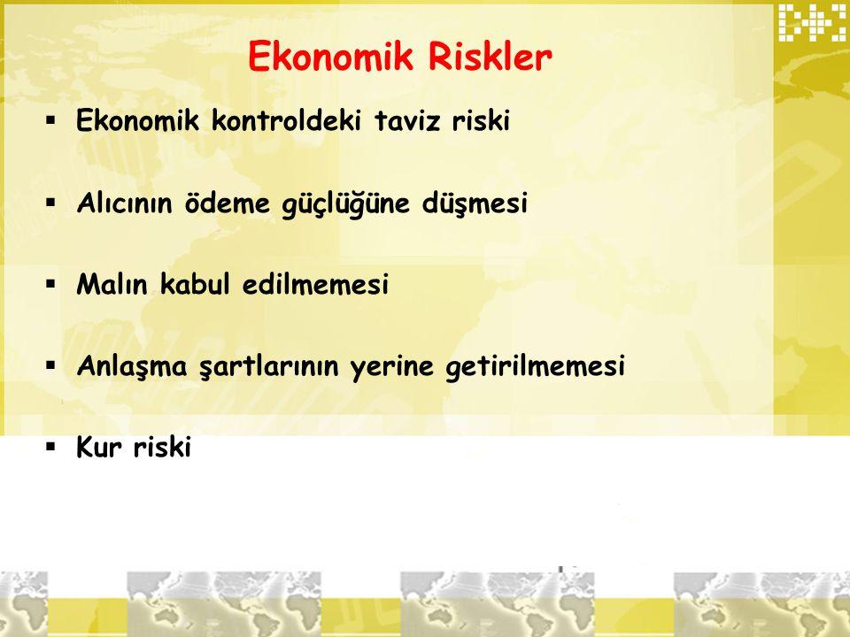 Ekonomik Riskler Ekonomik kontroldeki taviz riski
