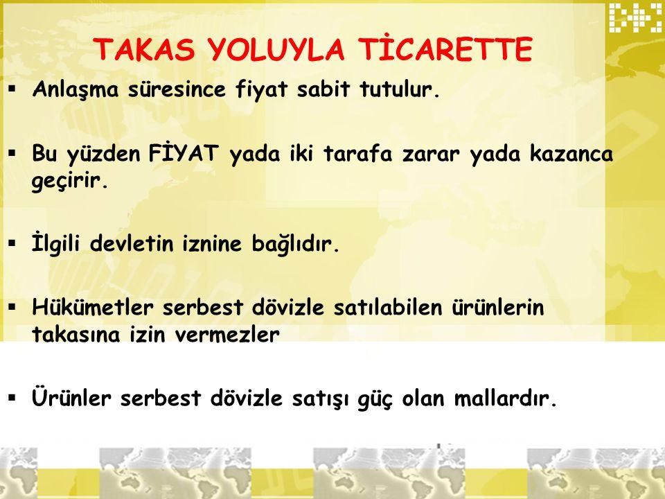 TAKAS YOLUYLA TİCARETTE