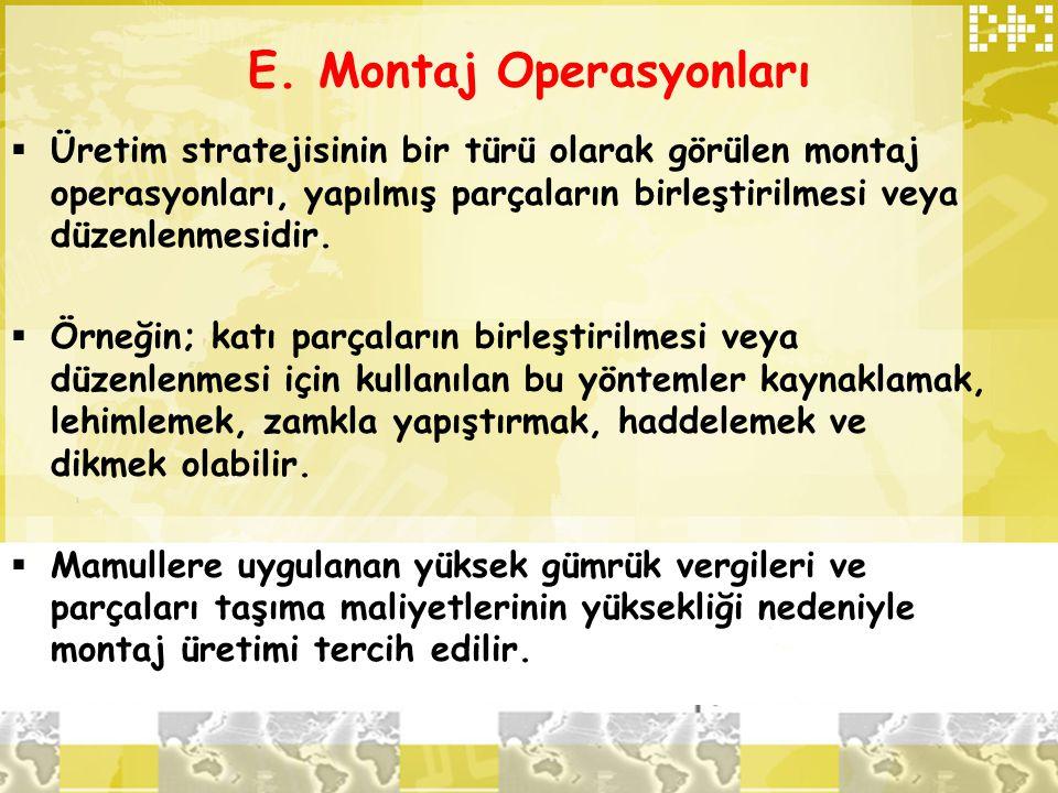 E. Montaj Operasyonları