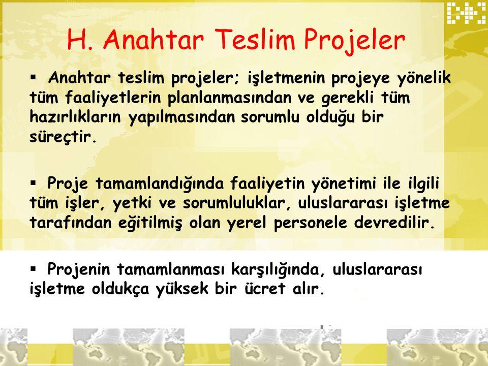 H. Anahtar Teslim Projeler