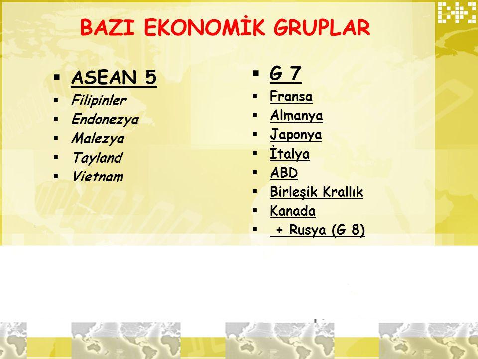BAZI EKONOMİK GRUPLAR G 7 ASEAN 5 Fransa Filipinler Almanya Endonezya