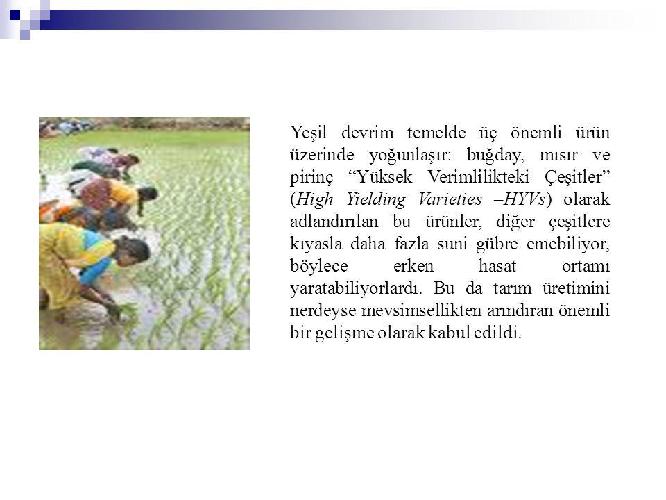 Yeşil devrim temelde üç önemli ürün üzerinde yoğunlaşır: buğday, mısır ve pirinç Yüksek Verimlilikteki Çeşitler (High Yielding Varieties –HYVs) olarak adlandırılan bu ürünler, diğer çeşitlere kıyasla daha fazla suni gübre emebiliyor, böylece erken hasat ortamı yaratabiliyorlardı.
