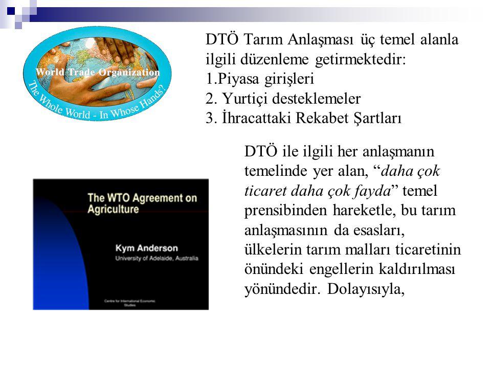 DTÖ Tarım Anlaşması üç temel alanla ilgili düzenleme getirmektedir: 1