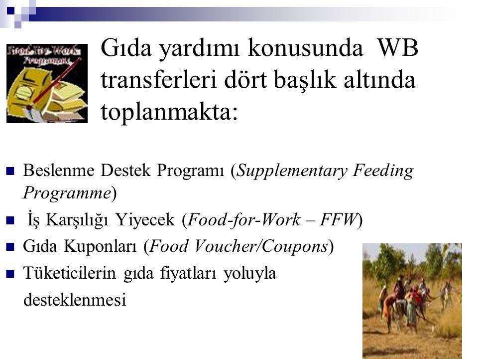 Gıda yardımı konusunda WB transferleri dört başlık altında toplanmakta: