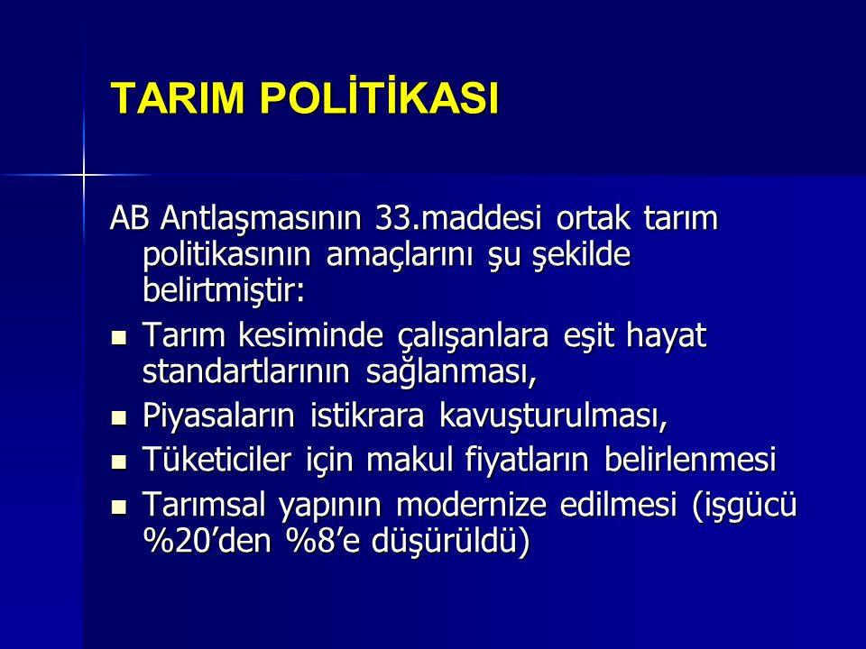 TARIM POLİTİKASI AB Antlaşmasının 33.maddesi ortak tarım politikasının amaçlarını şu şekilde belirtmiştir: