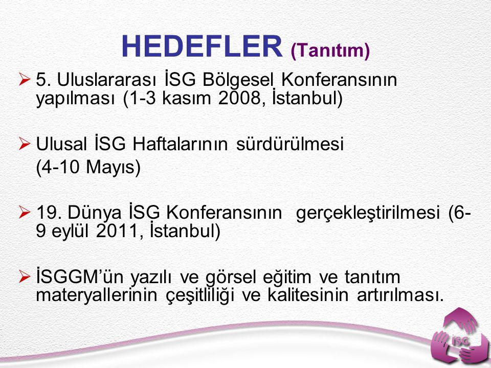 HEDEFLER (Tanıtım) 5. Uluslararası İSG Bölgesel Konferansının yapılması (1-3 kasım 2008, İstanbul) Ulusal İSG Haftalarının sürdürülmesi.