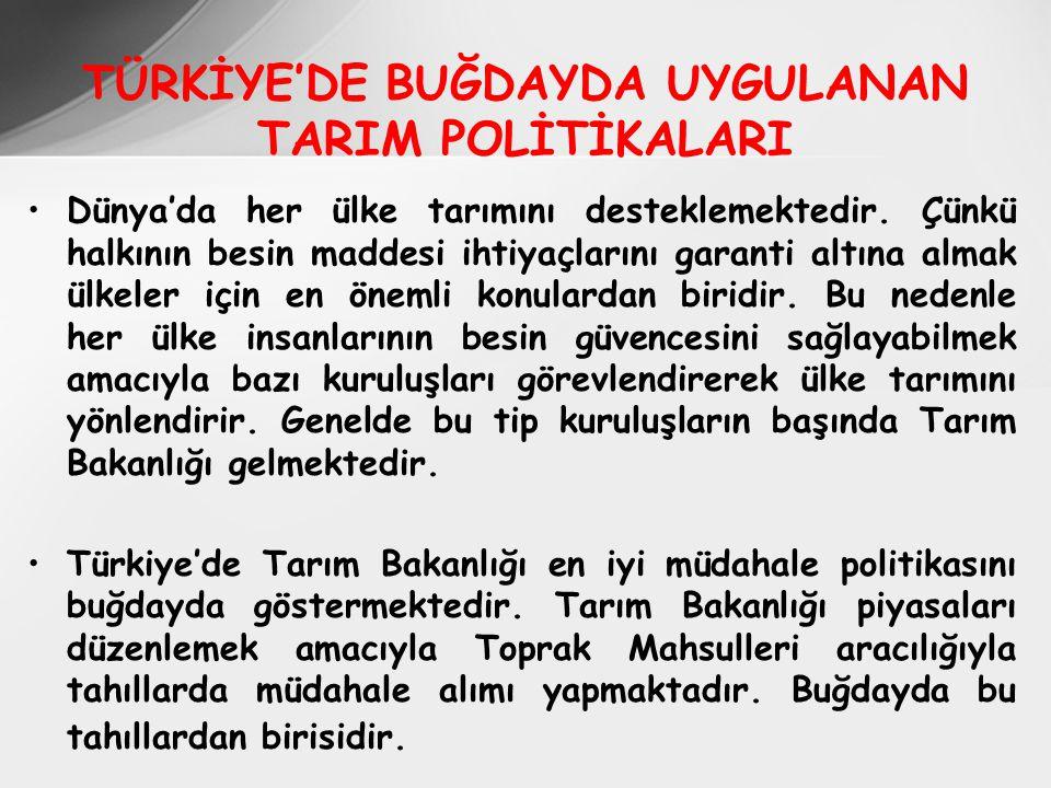 TÜRKİYE'DE BUĞDAYDA UYGULANAN TARIM POLİTİKALARI