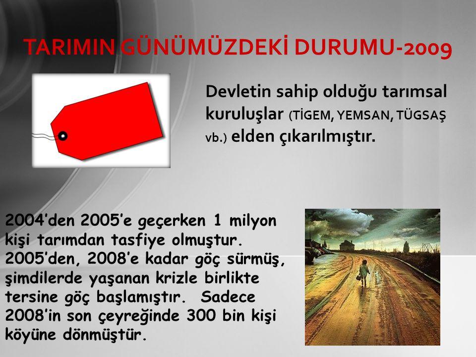 TARIMIN GÜNÜMÜZDEKİ DURUMU-2009