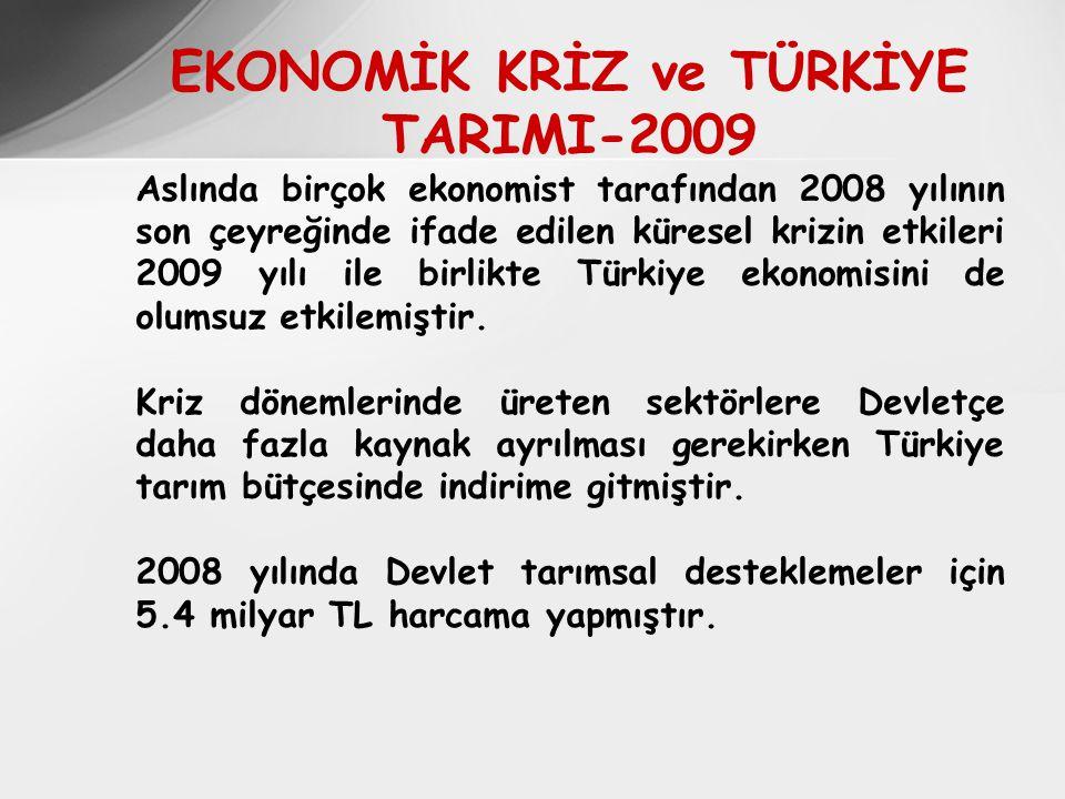 EKONOMİK KRİZ ve TÜRKİYE TARIMI-2009