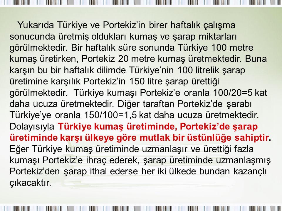Yukarıda Türkiye ve Portekiz'in birer haftalık çalışma sonucunda üretmiş oldukları kumaş ve şarap miktarları görülmektedir.