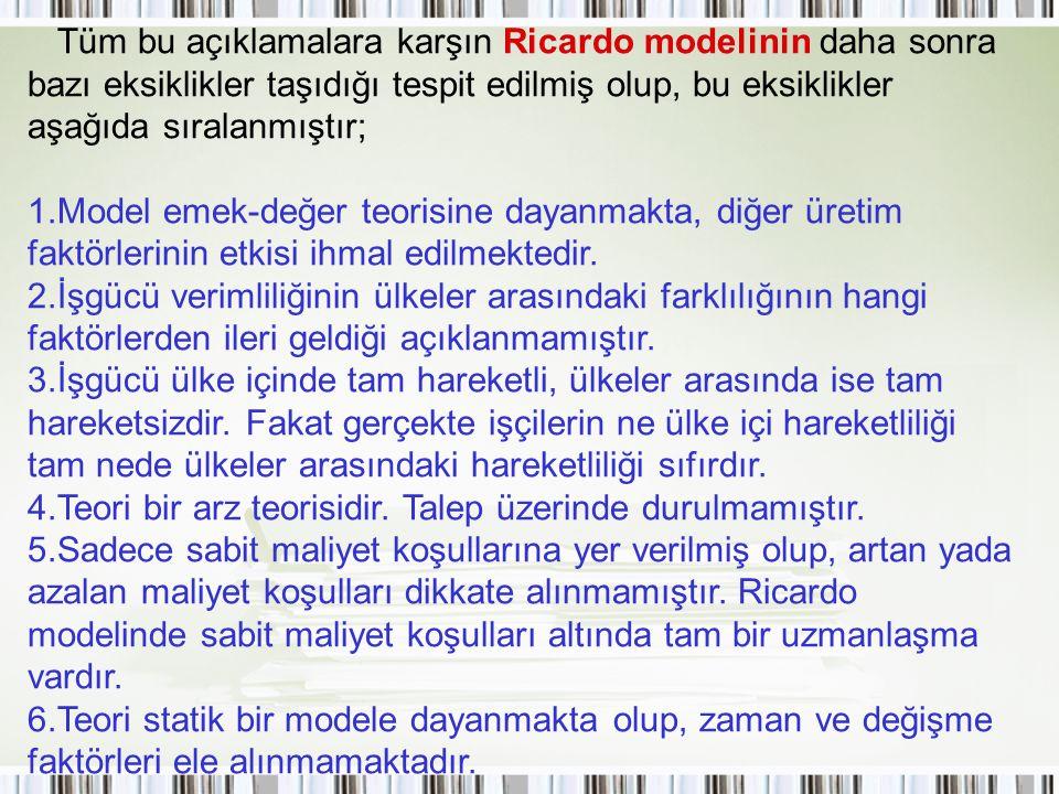 Tüm bu açıklamalara karşın Ricardo modelinin daha sonra bazı eksiklikler taşıdığı tespit edilmiş olup, bu eksiklikler aşağıda sıralanmıştır;