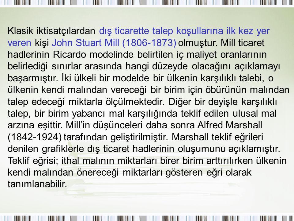 Klasik iktisatçılardan dış ticarette talep koşullarına ilk kez yer veren kişi John Stuart Mill (1806-1873) olmuştur.