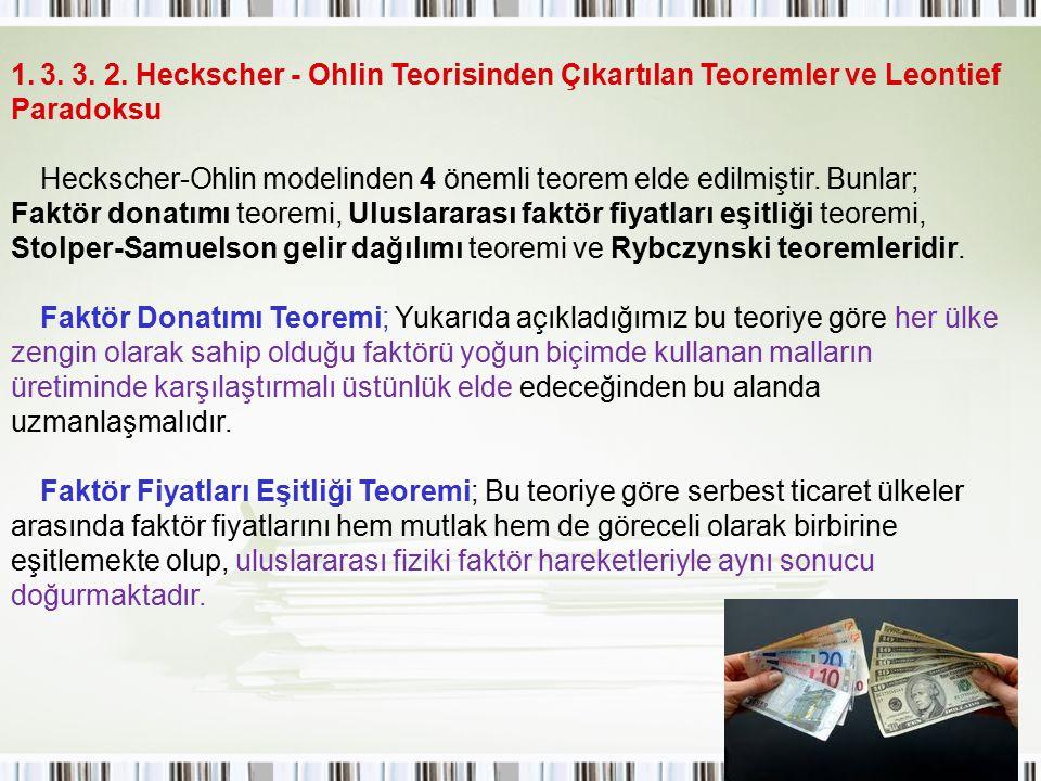 3. 3. 2. Heckscher - Ohlin Teorisinden Çıkartılan Teoremler ve Leontief Paradoksu