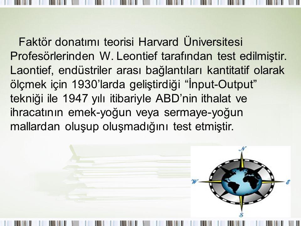 Faktör donatımı teorisi Harvard Üniversitesi Profesörlerinden W