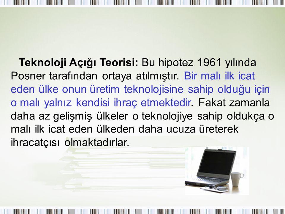 Teknoloji Açığı Teorisi: Bu hipotez 1961 yılında Posner tarafından ortaya atılmıştır.
