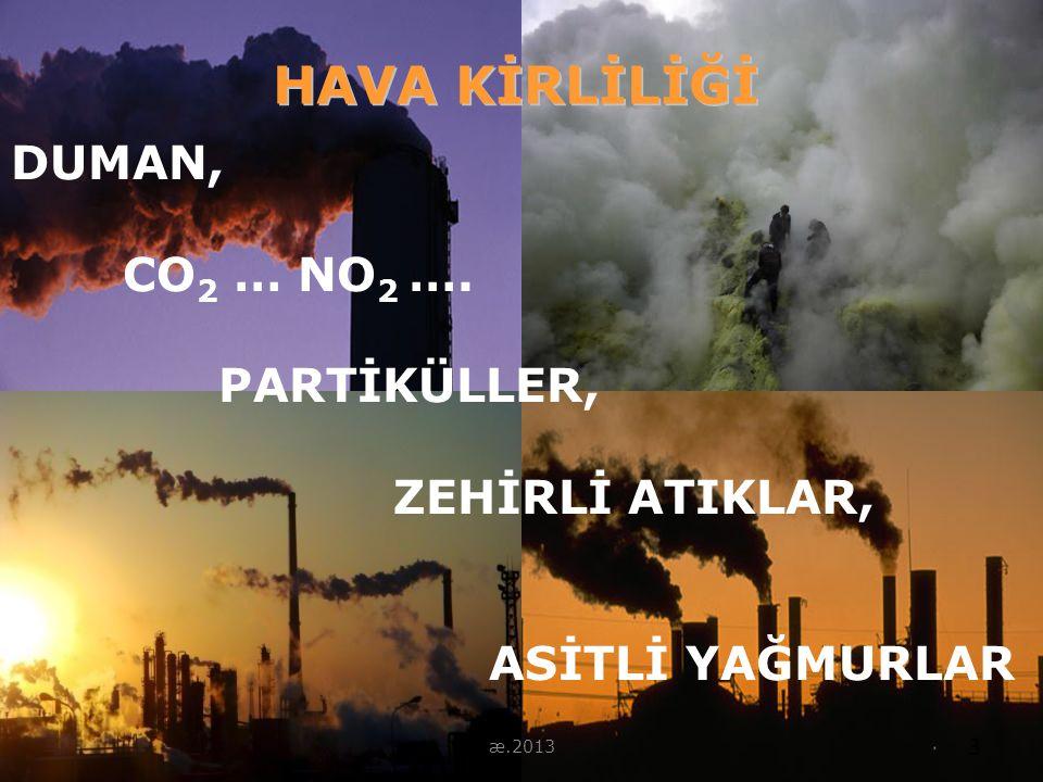 HAVA KİRLİLİĞİ DUMAN, CO2 … NO2 …. PARTİKÜLLER, ZEHİRLİ ATIKLAR,