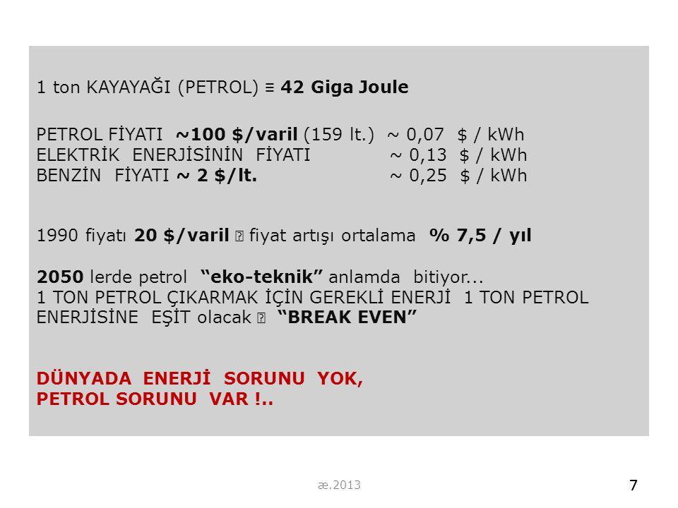 1 ton KAYAYAĞI (PETROL) ≡ 42 Giga Joule