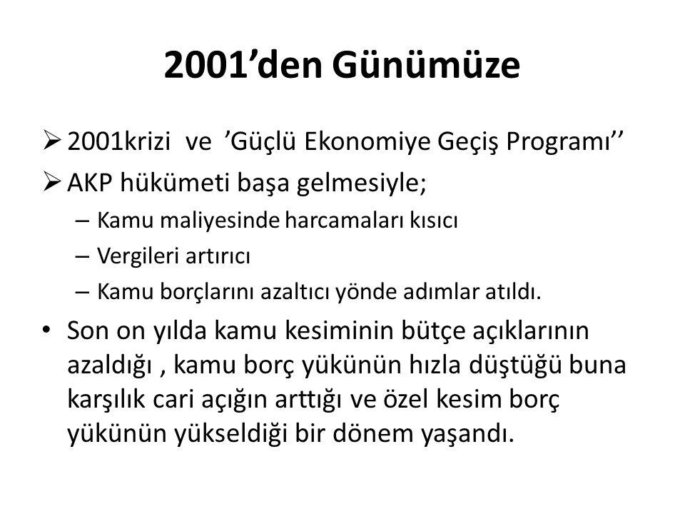2001'den Günümüze 2001krizi ve 'Güçlü Ekonomiye Geçiş Programı''