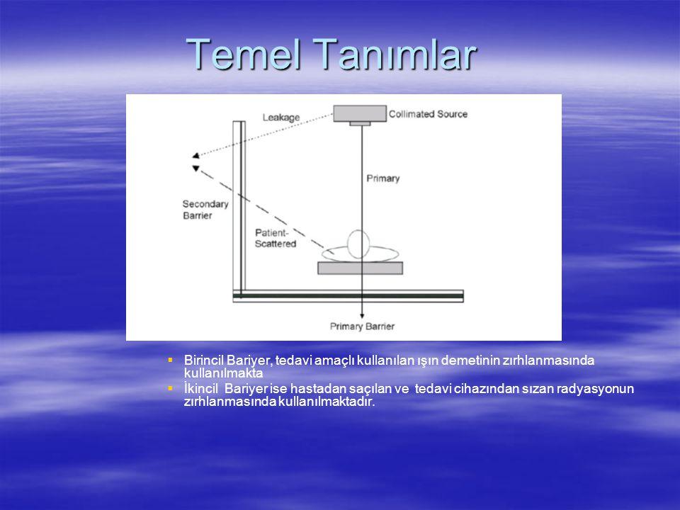 Temel Tanımlar Birincil Bariyer, tedavi amaçlı kullanılan ışın demetinin zırhlanmasında kullanılmakta.