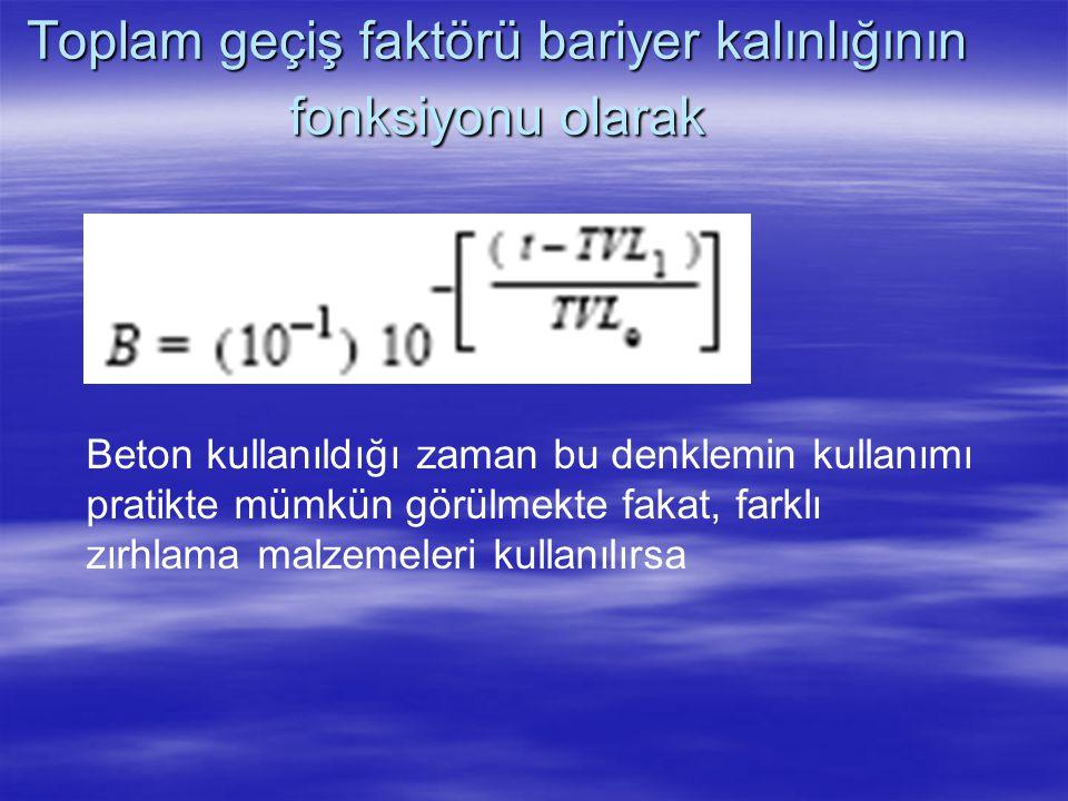 Toplam geçiş faktörü bariyer kalınlığının fonksiyonu olarak