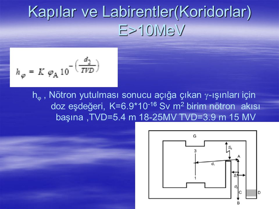 Kapılar ve Labirentler(Koridorlar) E>10MeV