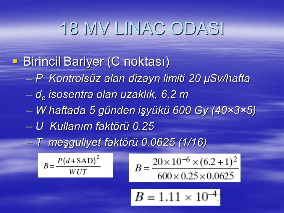 18 MV LINAC ODASI Birincil Bariyer (C noktası)