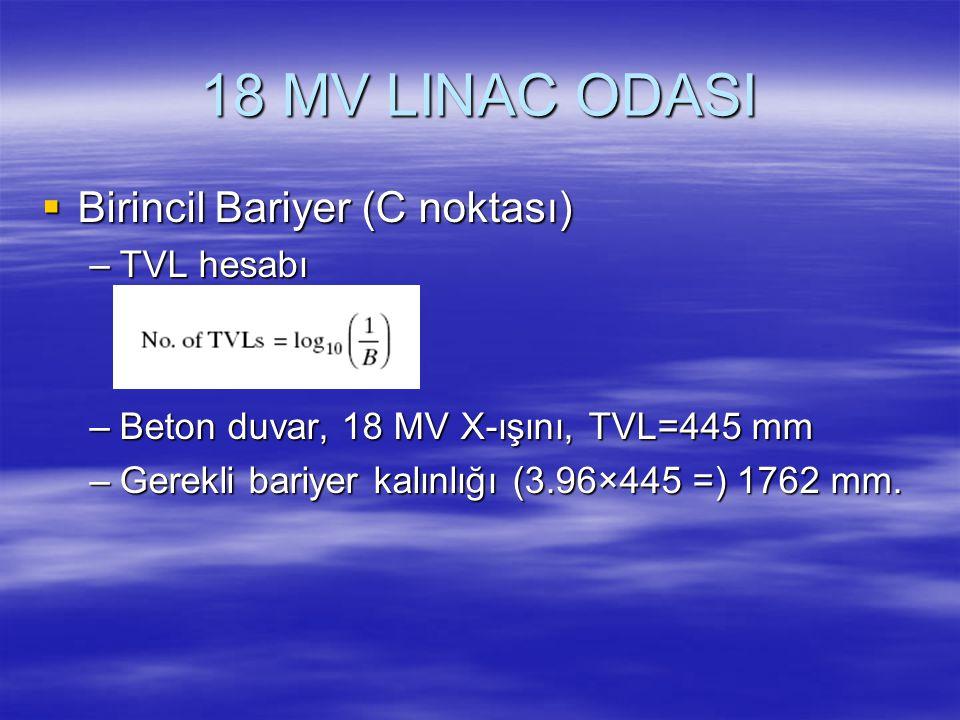 18 MV LINAC ODASI Birincil Bariyer (C noktası) TVL hesabı