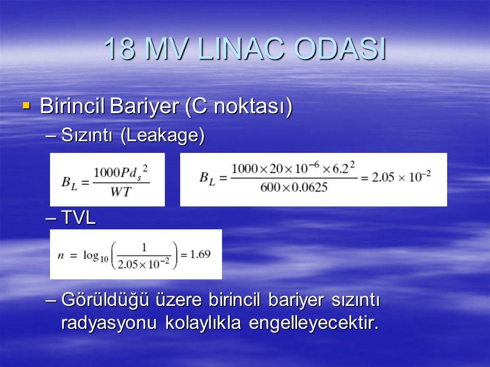 18 MV LINAC ODASI Birincil Bariyer (C noktası) Sızıntı (Leakage) TVL