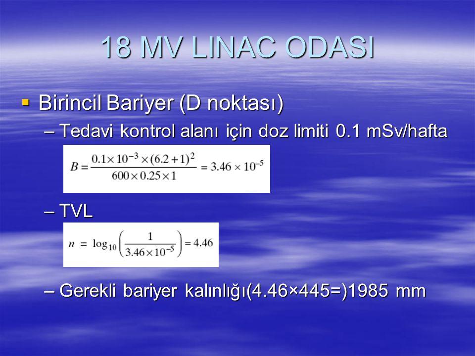 18 MV LINAC ODASI Birincil Bariyer (D noktası)