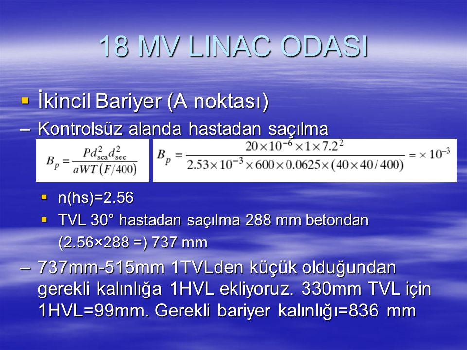 18 MV LINAC ODASI İkincil Bariyer (A noktası)