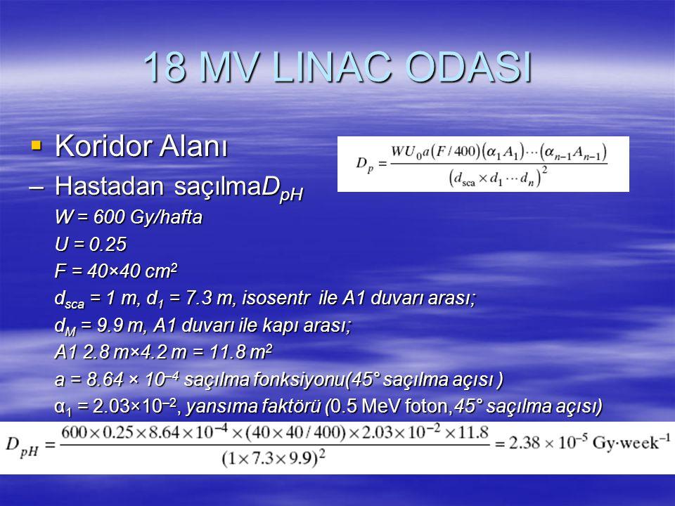 18 MV LINAC ODASI Koridor Alanı Hastadan saçılmaDpH W = 600 Gy/hafta