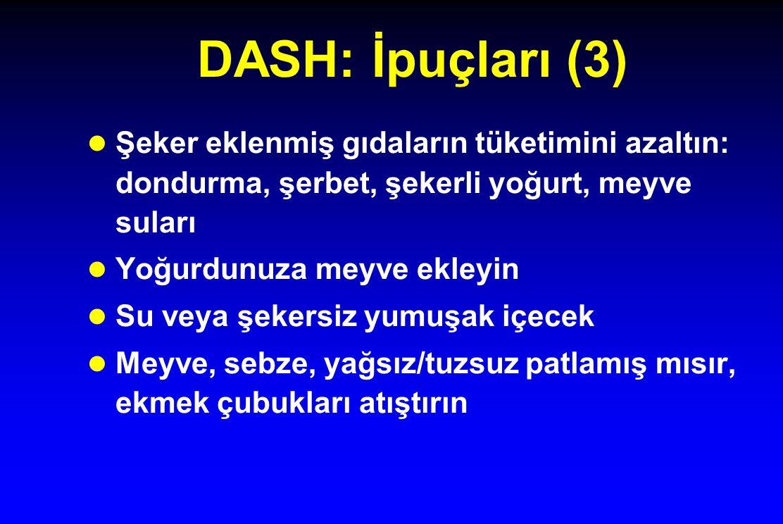 DASH: İpuçları (3) Şeker eklenmiş gıdaların tüketimini azaltın: dondurma, şerbet, şekerli yoğurt, meyve suları.