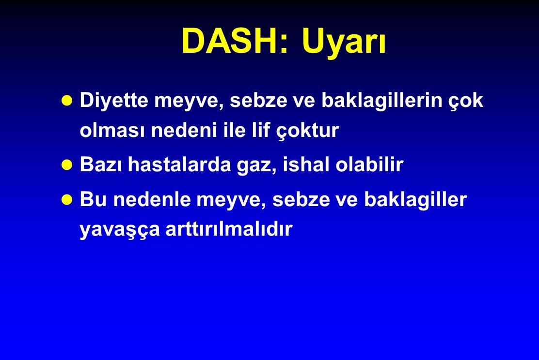DASH: Uyarı Diyette meyve, sebze ve baklagillerin çok olması nedeni ile lif çoktur. Bazı hastalarda gaz, ishal olabilir.