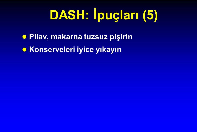 DASH: İpuçları (5) Pilav, makarna tuzsuz pişirin
