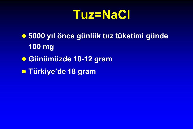 Tuz=NaCl 5000 yıl önce günlük tuz tüketimi günde 100 mg