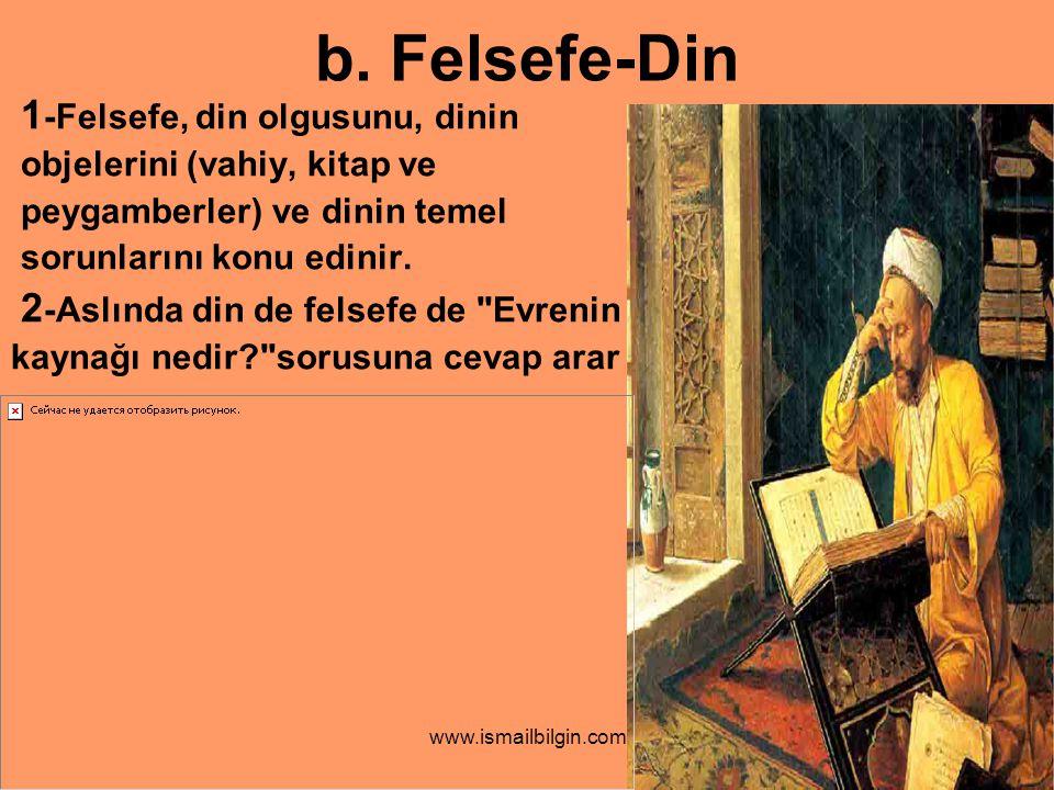 b. Felsefe-Din 1-Felsefe, din olgusunu, dinin