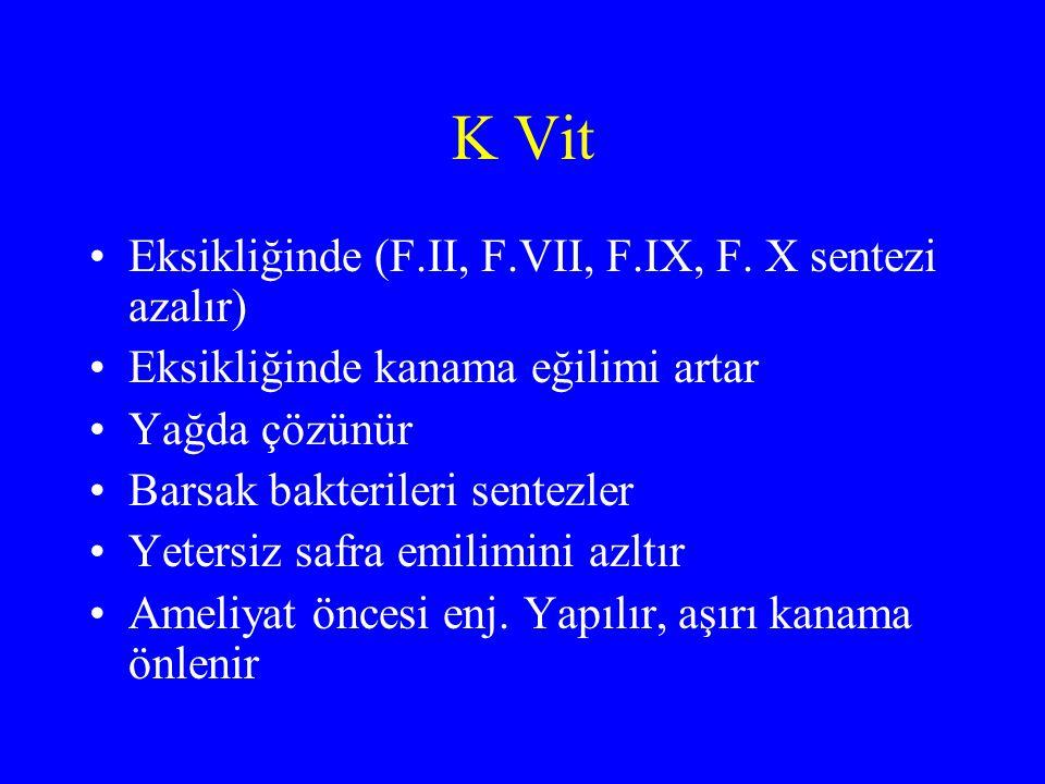 K Vit Eksikliğinde (F.II, F.VII, F.IX, F. X sentezi azalır)