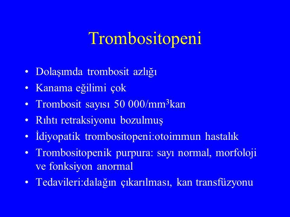 Trombositopeni Dolaşımda trombosit azlığı Kanama eğilimi çok