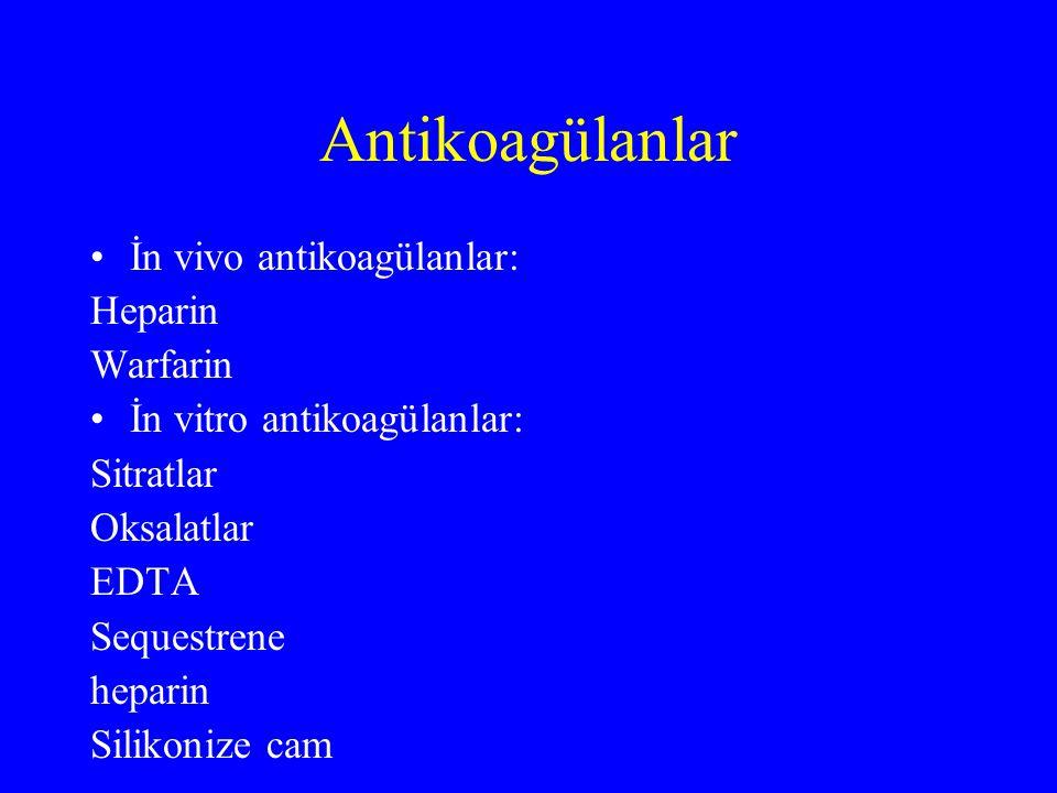 Antikoagülanlar İn vivo antikoagülanlar: Heparin Warfarin