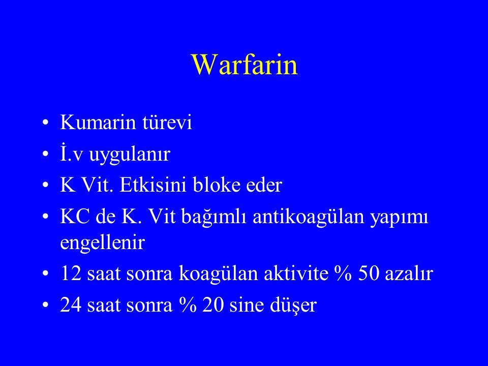 Warfarin Kumarin türevi İ.v uygulanır K Vit. Etkisini bloke eder