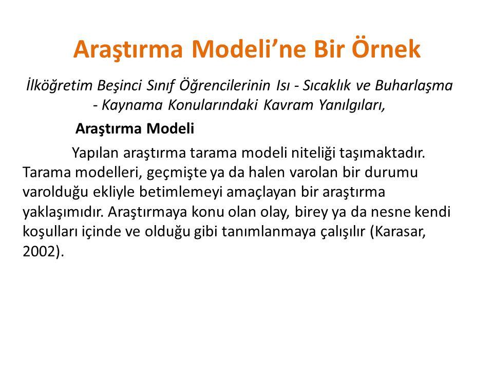 Araştırma Modeli'ne Bir Örnek