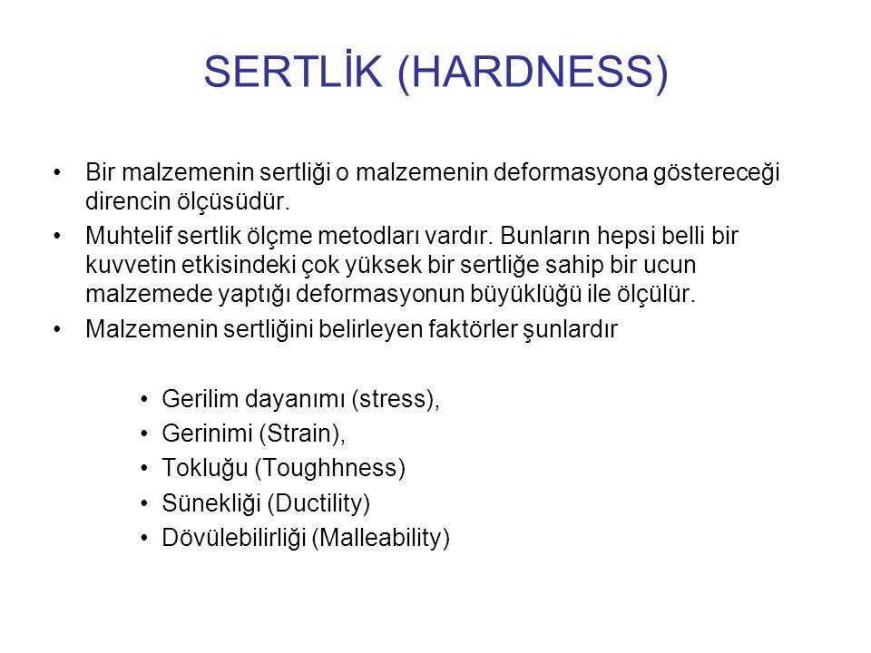 SERTLİK (HARDNESS) Bir malzemenin sertliği o malzemenin deformasyona göstereceği direncin ölçüsüdür.
