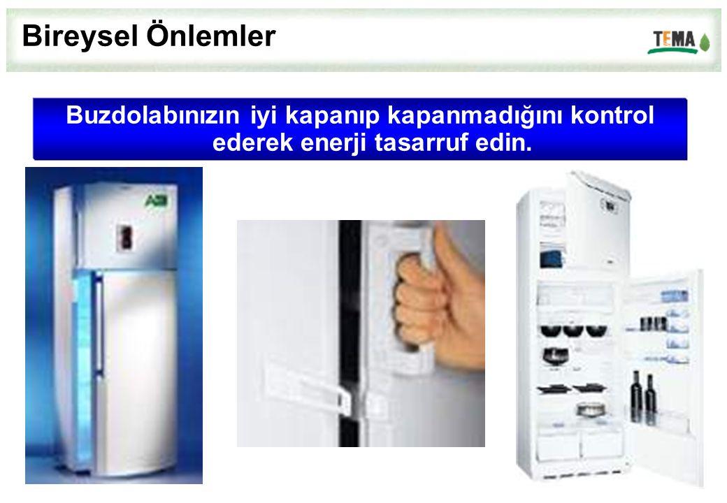 Bireysel Önlemler Buzdolabınızın iyi kapanıp kapanmadığını kontrol ederek enerji tasarruf edin.