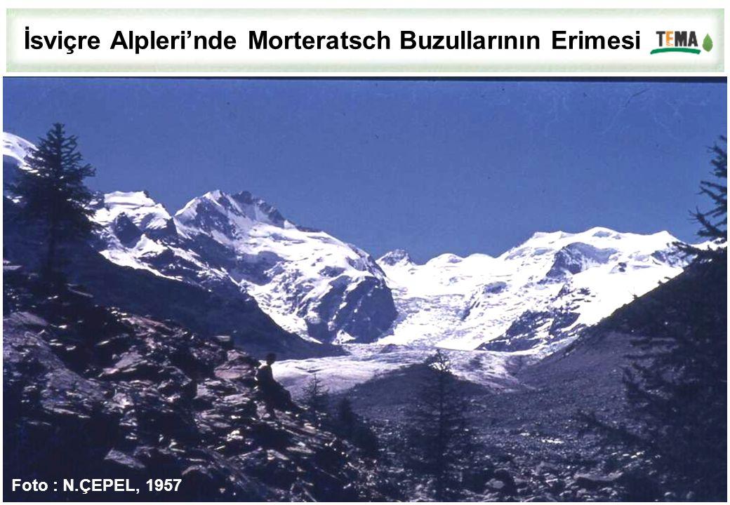 İsviçre Alpleri'nde Morteratsch Buzullarının Erimesi