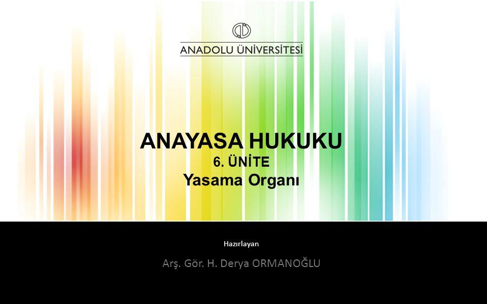 ANAYASA HUKUKU 6. ÜNİTE Yasama Organı