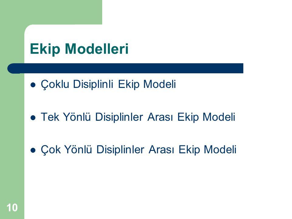 Ekip Modelleri Çoklu Disiplinli Ekip Modeli